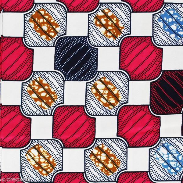 Tissu Wax à la coupe - Rouge framboise, bleu et blanc - Par 10 cm - Photo n°1