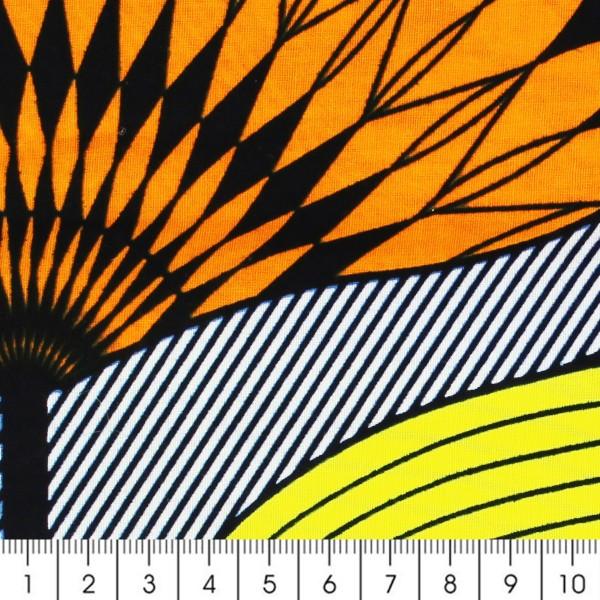 Tissu Wax à la coupe - Jaune, orange et turquoise - Par 10 cm - Photo n°2