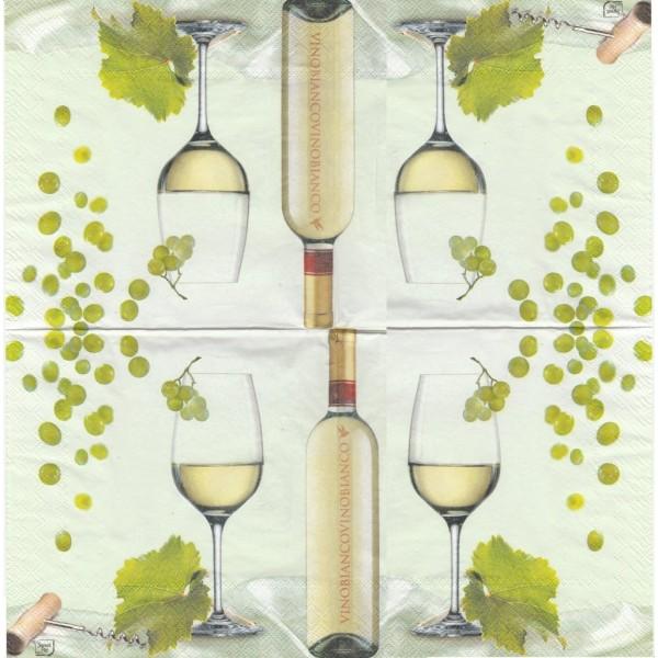 Paquet de 20 Serviettes en papier Vin Blanc Format Lunch Decoupage Decopatch LU561020 Sweet Pac - Photo n°2