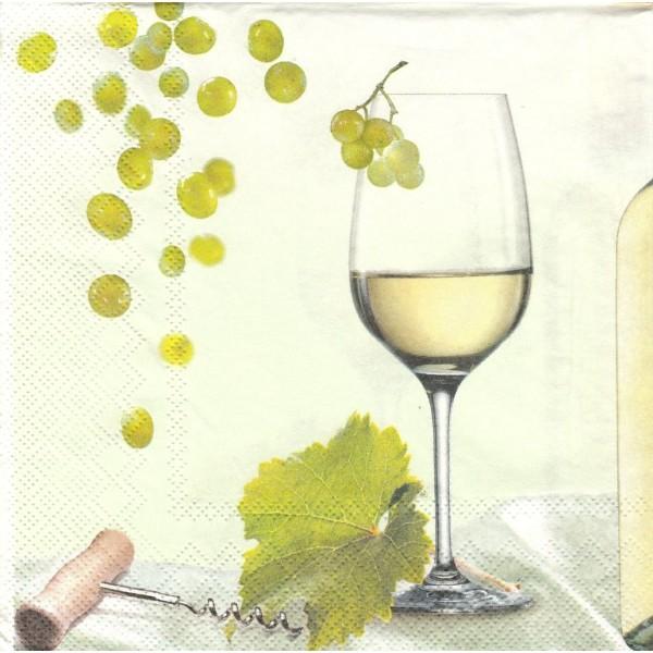Paquet de 20 Serviettes en papier Vin Blanc Format Lunch Decoupage Decopatch LU561020 Sweet Pac - Photo n°1
