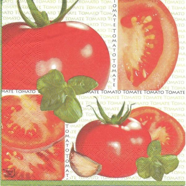 Paquet de 20 Serviettes en papier Cuisine Tomate Basilic Pomodoro Format Lunch LU121012 Sweet Pac - Photo n°1
