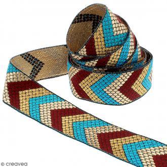 Galon ethnique brodé - Africain chevron - Rouge, doré et bleu - 32 mm - Au mètre (sur mesure)