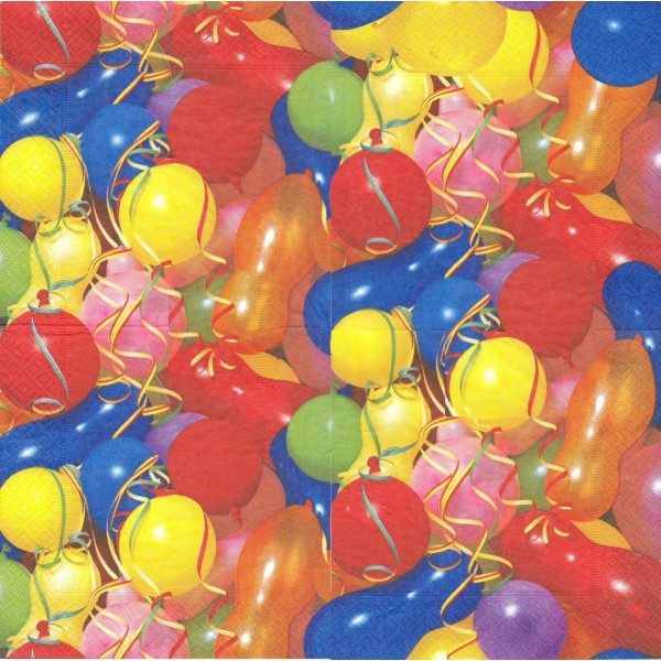 4 Serviettes en papier Anniversaire Ballons Format Lunch Decopatch 20776 Paper+Design - Photo n°1