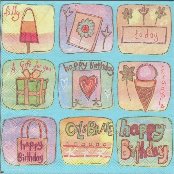 4 Serviettes en papier Vignettes Anniversaire Format Lunch Decoupage Decopatch 13306620 Ambiente - Photo n°1