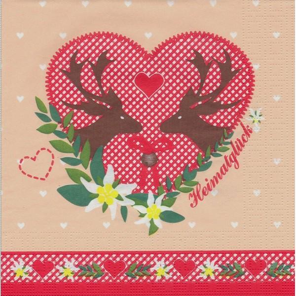 Paquet de 20 Serviettes en papier Coeur Renne Noël Format Lunch Decoupage Decopatch 7629 PPD - Photo n°1