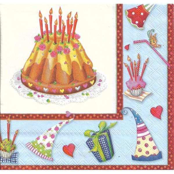 4 Serviettes en papier Gâteau d'Anniversaire Format Lunch Decoupage Decopatch 13305940 Ambiente - Photo n°1