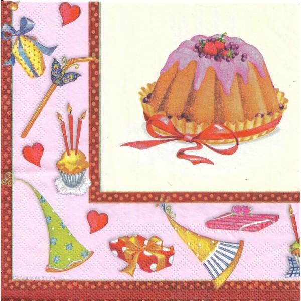 4 Serviettes en papier Gâteau d'Anniversaire Format Lunch Decoupage Decopatch 13305941 Ambiente - Photo n°2