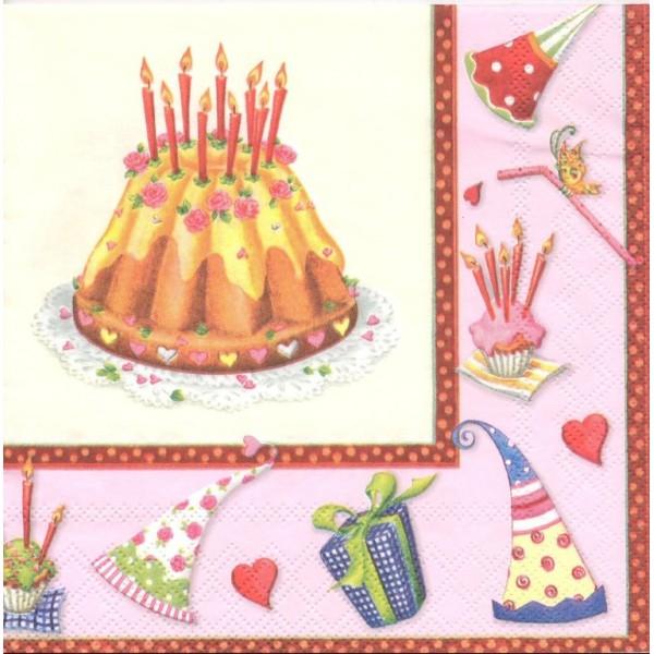 4 Serviettes en papier Gâteau d'Anniversaire Format Lunch Decoupage Decopatch 13305941 Ambiente - Photo n°1