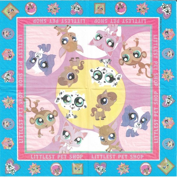 4 Serviettes en papier Littlest Pet Shop Format Lunch Decoupage Decopatch 61139 Decorata - Photo n°2