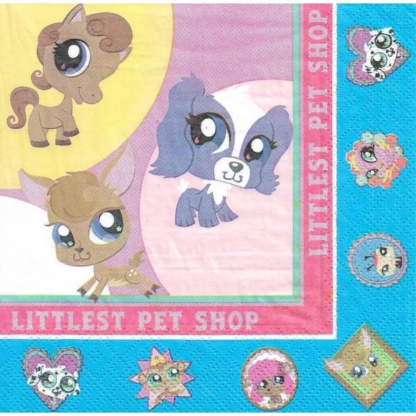 4 Serviettes en papier Littlest Pet Shop Format Lunch Decoupage Decopatch 61139 Decorata - Photo n°1