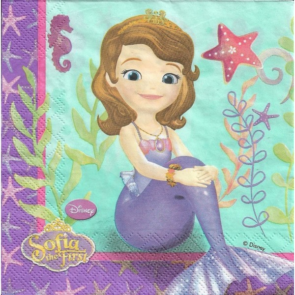 4 Serviettes en papier Princesse Sirène Sofia Mer Format Lunch Decoupage Decopatch 6070687 Decorata - Photo n°1