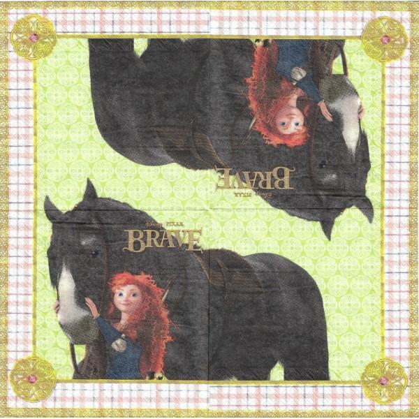 4 Serviettes en papier Brave Mérida Format Lunch Decoupage Decopatch 2082101 Decorata - Photo n°2