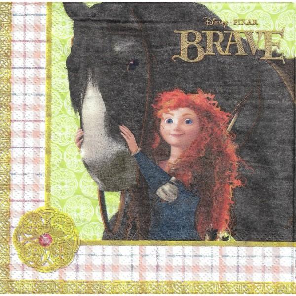 4 Serviettes en papier Brave Mérida Format Lunch Decoupage Decopatch 2082101 Decorata - Photo n°1