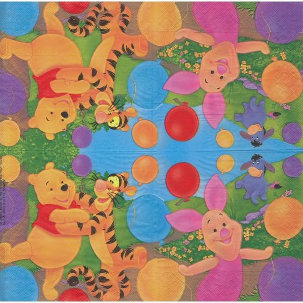 4 Serviettes en papier Winnie et ses amis Format Lunch Decoupage Decopatch 1012433 Decorata - Photo n°2