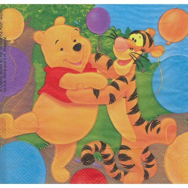 4 Serviettes en papier Winnie et ses amis Format Lunch Decoupage Decopatch 1012433 Decorata - Photo n°1