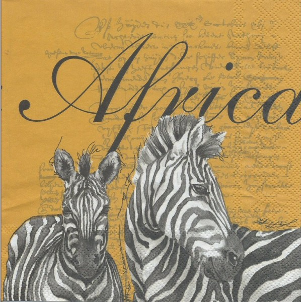 4 Serviettes en papier Afrique Zèbres Format Lunch Decoupage Decopatch 13306245 Ambiente - Photo n°1