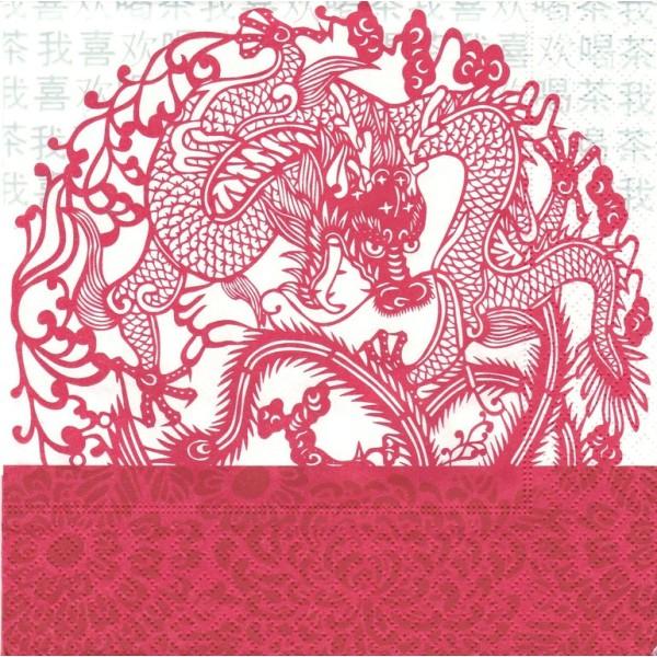 4 Serviettes en papier Asie Dragon Format Lunch Decoupage Decopatch LN0565 Colourful Life - Photo n°1