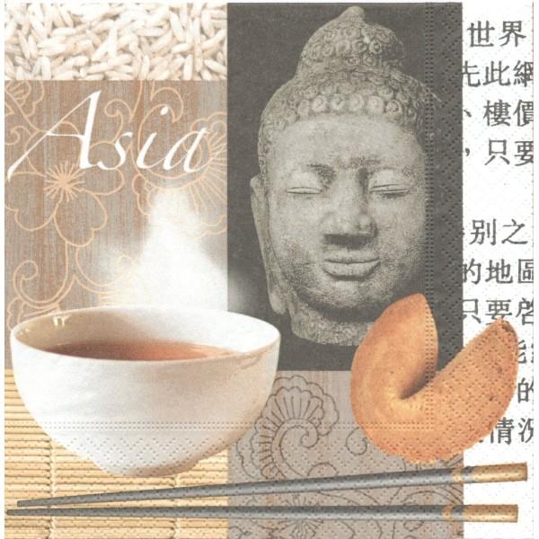 4 Serviettes en papier Asie Bouddha Thé Format Lunch Decoupage Decopatch LN0422 Colourful Life - Photo n°1