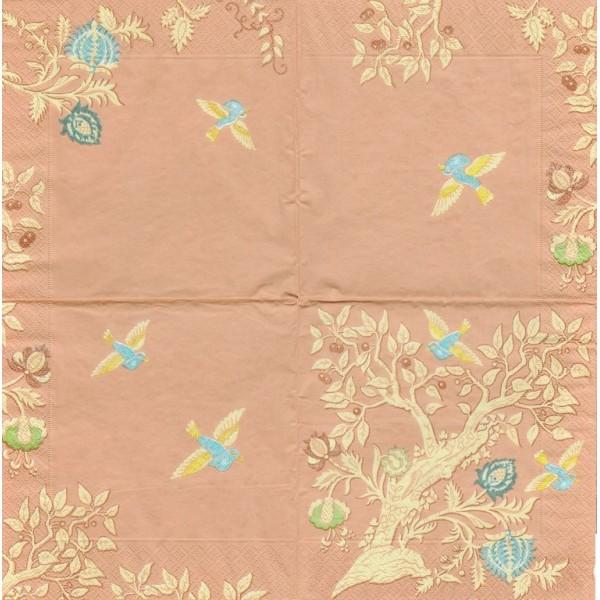 4 Serviettes en papier Asie Colibri abricot Format Lunch Decoupage Decopatch 10997757 SusyCard - Photo n°2