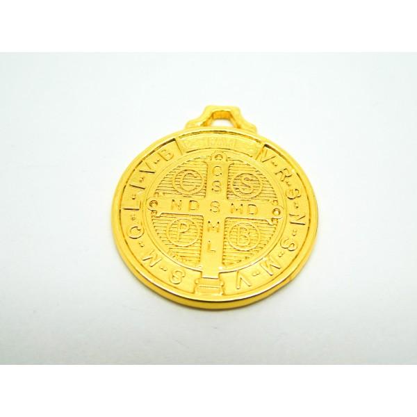 2 Breloques rondes symbole religieux - laiton doré - 25*22mm - Photo n°3