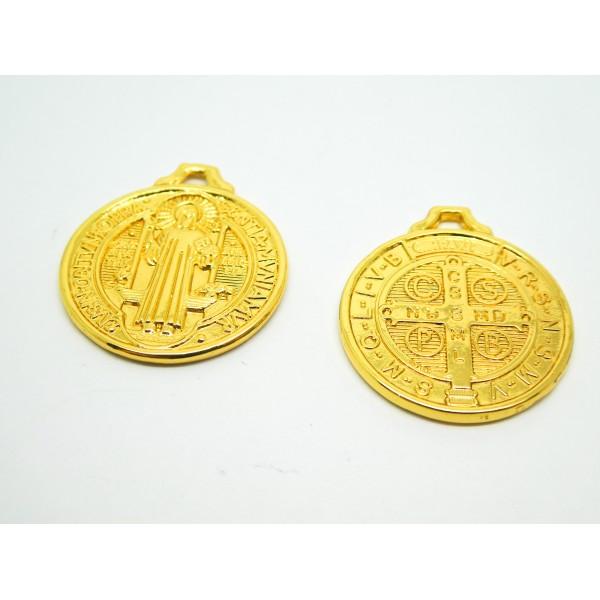 2 Breloques rondes symbole religieux - laiton doré - 25*22mm - Photo n°1