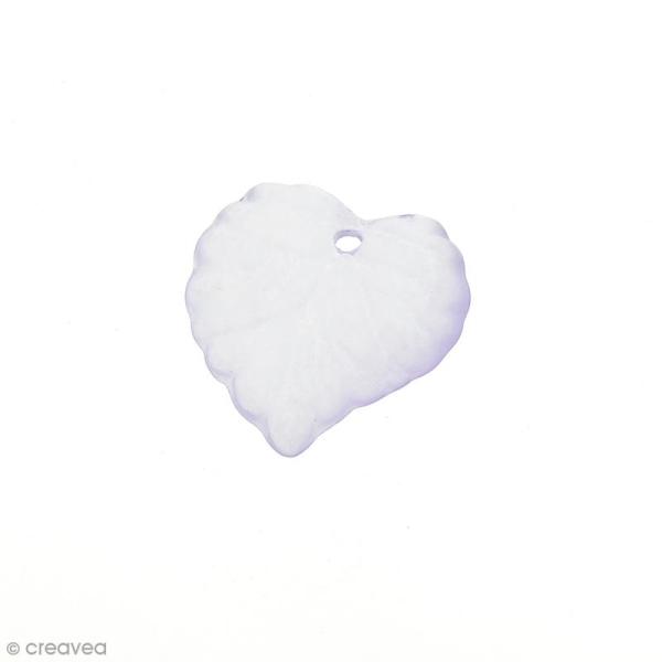 Breloque effet givré - Coeur Violet transparent - Photo n°1