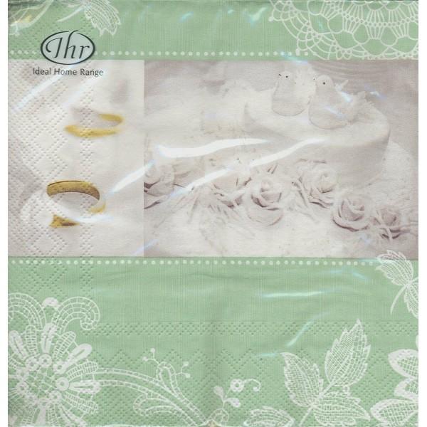 Paquet de 20 Serviettes en papier Mariage Romantique Format Lunch L-492720  IHR - Photo n°1