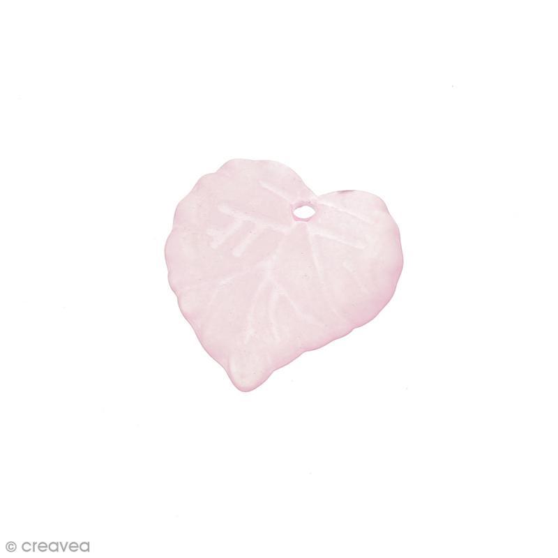 Breloque effet givré - Coeur Rose transparent - Photo n°1