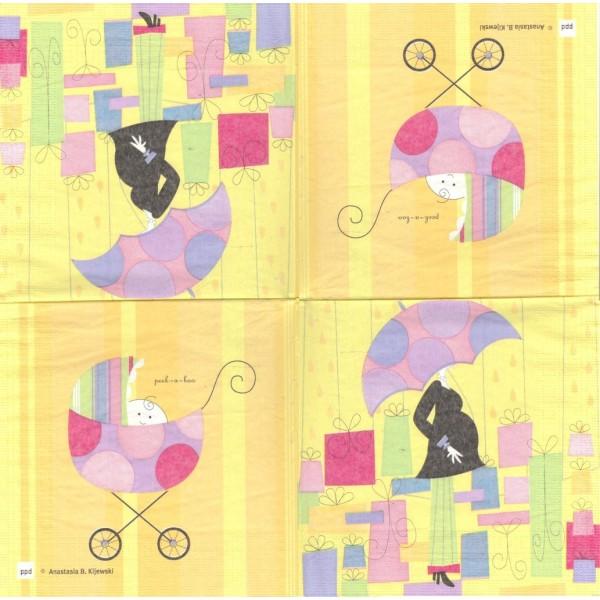 4 Serviettes en papier Naissance Baby Shower Format Lunch Decoupage Decopatch 3927 PPD - Photo n°1