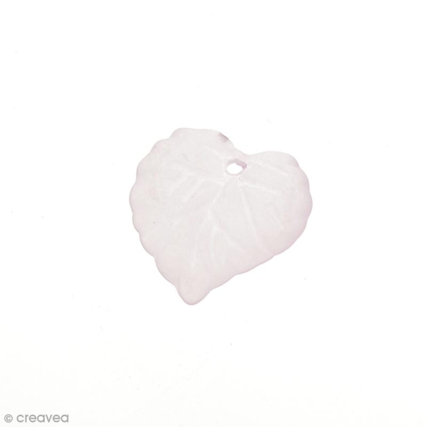 Breloque effet givré - Coeur Rose clair transparent - Photo n°1