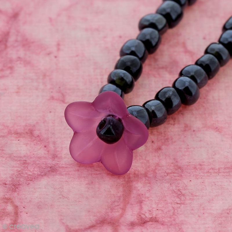 Breloque effet givré - Coupelle fleur Rose fuchsia transparent - Photo n°2
