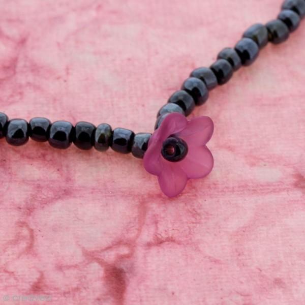 Breloque effet givré - Coupelle fleur Rose fuchsia transparent - Photo n°3