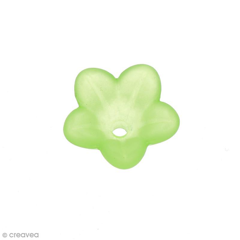 Breloque effet givré - Coupelle fleur Vert transparent - Photo n°1