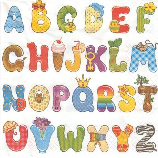 4 Serviettes en papier Naissance Abécédaire Format Lunch SDOG-015901 Daisy Decoupage Decopatch - Photo n°1