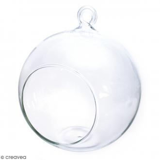 Boule en verre ouverte à suspendre - 8 cm