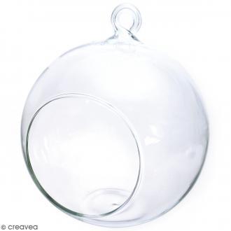 Boule en verre ouverte à suspendre - 12 cm