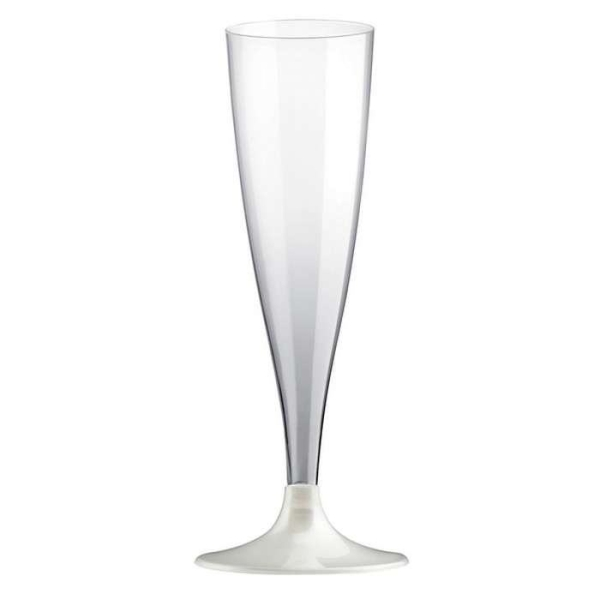 20 Flûtes champagne pied blanc perlé - Photo n°1