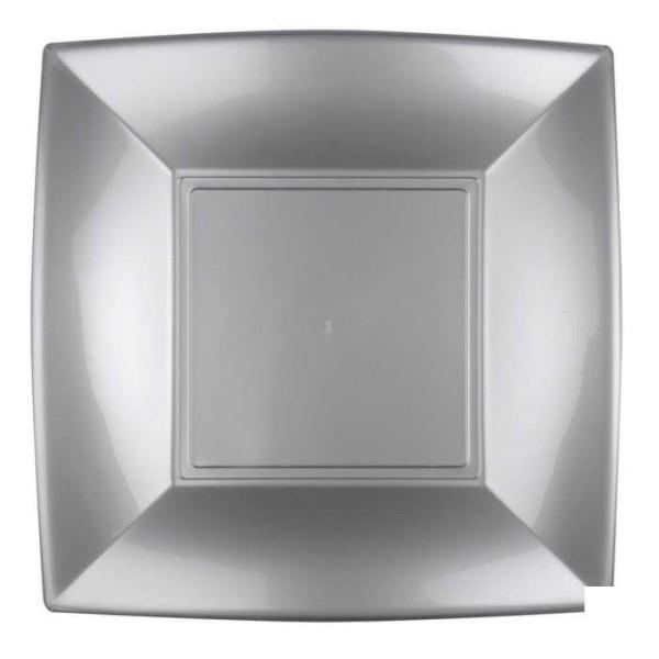 8 Assiettes carrées 23 cm gris argent Design - Photo n°1