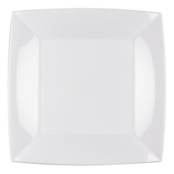8 Assiettes carrées 23 cm blanc Design - Photo n°1