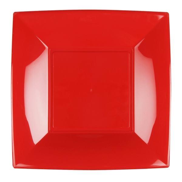 8 Assiettes carrées 23 cm rouge Design - Photo n°1