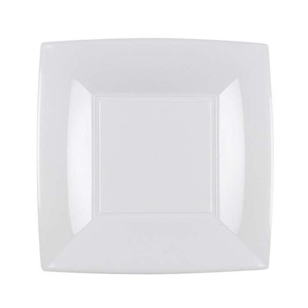 8 Assiettes dessert carrées blanc Design - Photo n°1