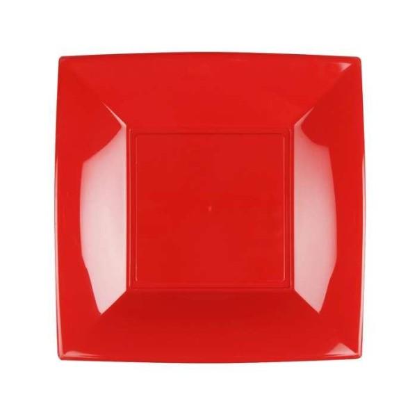 8 Assiettes dessert carrées rouge Design - Photo n°1