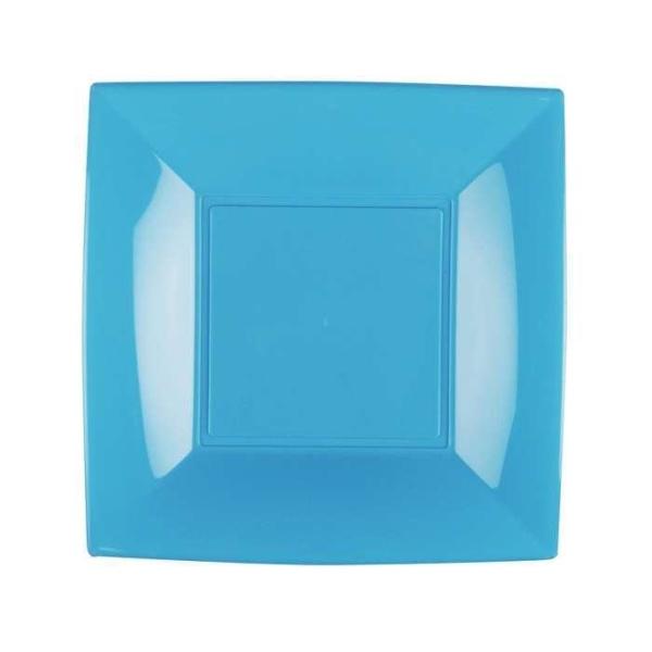 8 Assiettes dessert carrées turquoise Design - Photo n°1