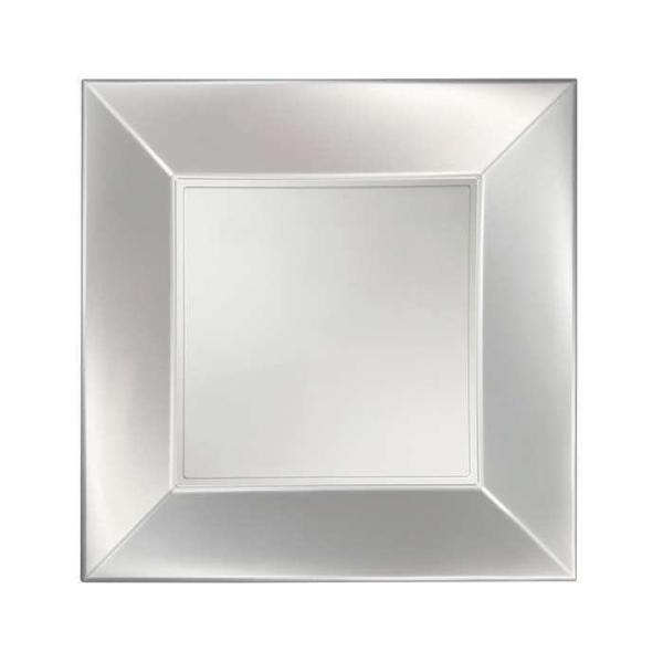 8 Assiettes dessert carrées blanc perlé Design - Photo n°1