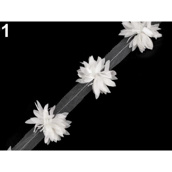 9m 1 Crème plus légère de la Tresse Parage Sur Tulle, Fleurs Largeur 60mm, les Vêtements, les Tresse - Photo n°1