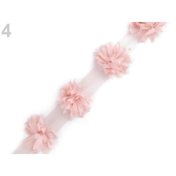 9m 4 Lumière Tresse Rose Parage Sur Tulle, Fleurs Largeur 60mm, les Vêtements, les Tresses Et les Au - Photo n°1