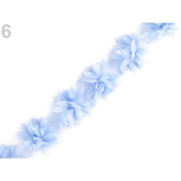 9m 6 Light Bleu Tresse Parage Sur Tulle, Fleurs Largeur 60mm, les Vêtements, les Tresses Et les Autr - Photo n°1