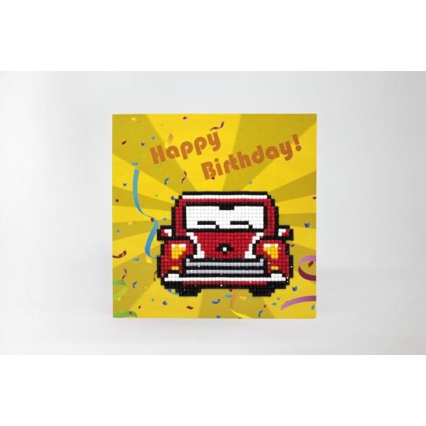 Broderie Diamant Kit-Joyeux anniversaire (voiture rétro) WC0275 - Photo n°2