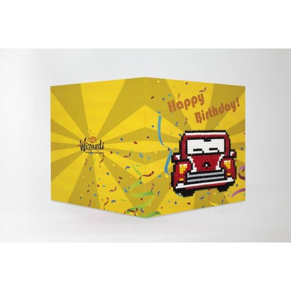 Broderie Diamant Kit-Joyeux anniversaire (voiture rétro) WC0275 - Photo n°1