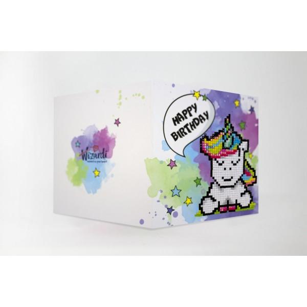 Broderie Diamant Kit- Joyeux anniversaire (licorne) WC0293 - Photo n°1